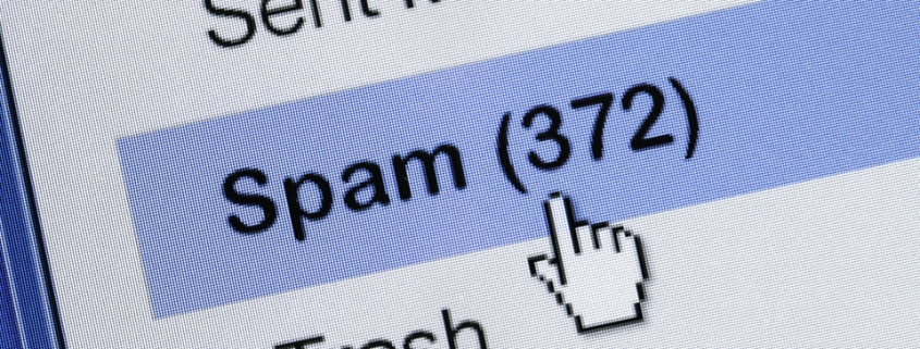 A screenshot of an email account's Spam foider